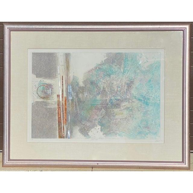 "Robert Alan DeVoe ""Striding Moon"" Monoprint C.1987 For Sale - Image 12 of 12"