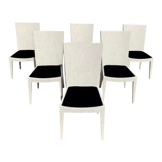 Dining Chairs by Enrique Garcel Tessellated Bone 1970s - Set of 6 For Sale