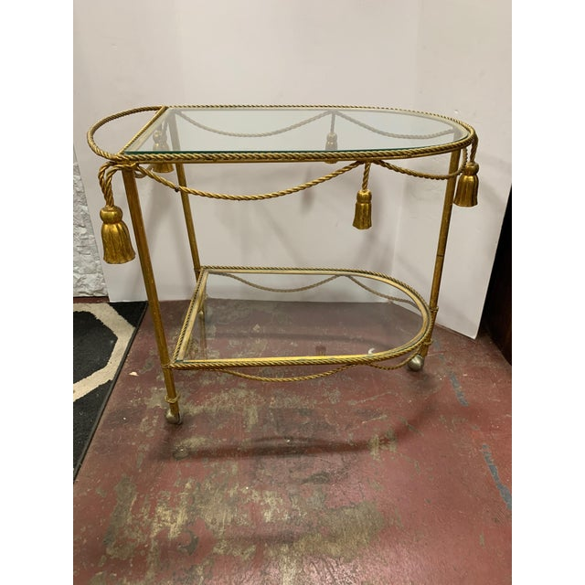 1950s 1950s Gilded Metal Rope and Tassel Bar Cart For Sale - Image 5 of 5