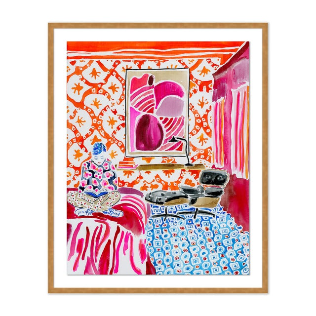 Contemporary Quiet Moments in a Colorful World by Kate Lewis in Gold Frame, Small Art Print For Sale - Image 3 of 3