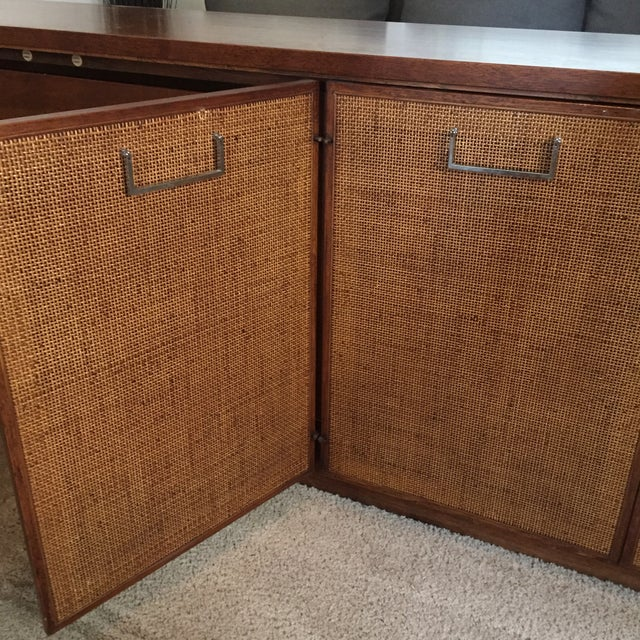Mid-Century Modern Founders Style Mid-Century Cane & Walnut Buffet For Sale - Image 3 of 11