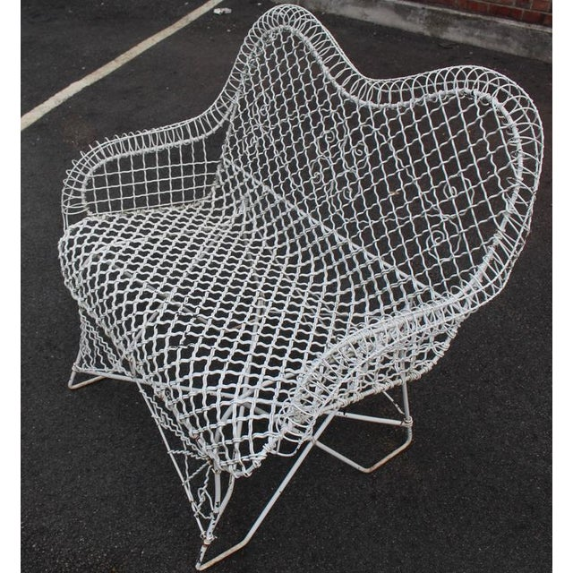 Wire Mesh Loveseat Settee Outdoor Bench For Sale - Image 4 of 6