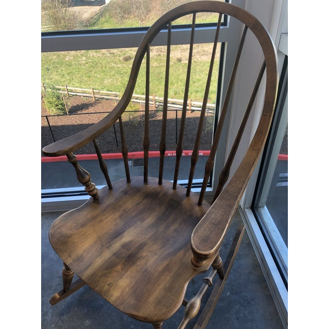 Ethan Allen 19th C. Ethan Allen Antique Solid Maple Windsor Rocking Chair For Sale - Image 4 of 13