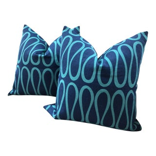 """Jonathathan Adler """"Bodoni"""" Infinity Loop in Royal Blue and Aqua Pillows - a Pair For Sale"""
