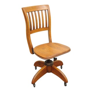 Antique Refinished Walnut Bankers Lawyers Slat Back Swivel Office Desk Chair