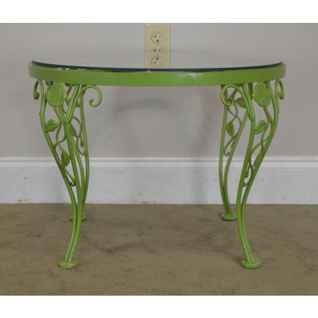 Woodard Chantilly Rose Garden Vintage Green Painted Wrought Iron Round Patio Side Table For Sale - Image 11 of 13