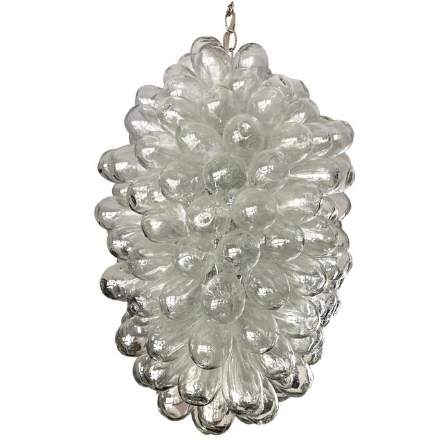 Modern Clear Handblown Glass Bubble Light Fixture For Sale