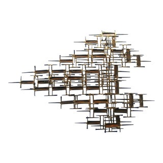 1970s Vintage Brutalist Nails Wall Sculpture For Sale