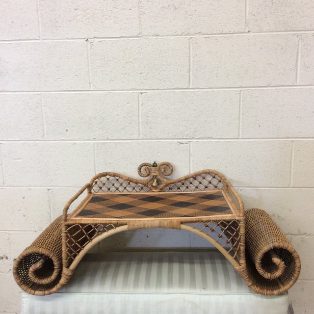 Retired MacKenzie Childs Ajiro Weave Wicker Rattan Scrolled Bed Tray For Sale - Image 11 of 11
