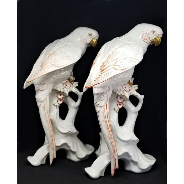 Art Deco Rare Large White Porcelain Parrots by Karl Ens - Each Signed - Volkstedt Germany - Art Deco Palm Beach Boho Chic Tropical Coastal For Sale - Image 3 of 12