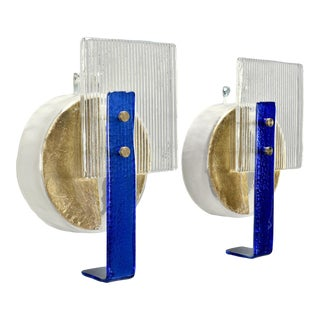Murano Glass Gold and Cobalt Wall Sconces - Pair For Sale