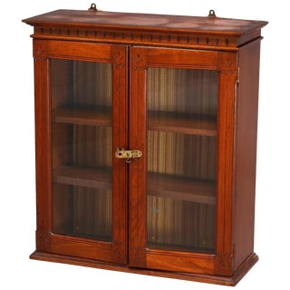 19th Century Antique Eastlake Carved Walnut Wall Cabinet For Sale