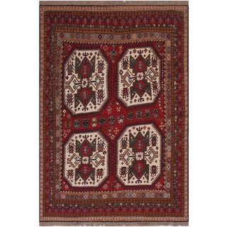 "Antique Tribal Soumakh Sal Wool Rug - 6'2"" X 8' For Sale"