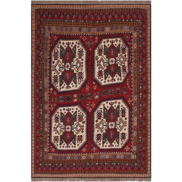 "Antique Tribal Soumakh Sal Wool Rug - 6'2"" X 8' For Sale"
