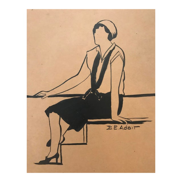 1930s Fashion Design Drawing by Beryl Adair Trezise For Sale