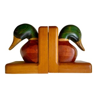 Mid Century Orange County Carving Hand-Carved Mallard Duck Solid Birch Book Ends - a Pair For Sale