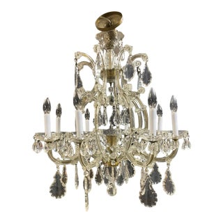 1960s 8 Arm Large Crystal Chandelier For Sale