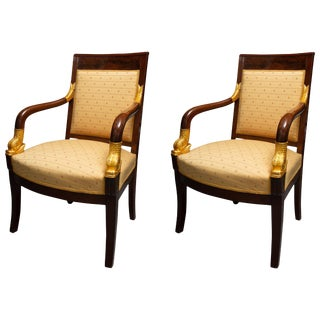 French Empire Style Mahogany and Parcel Gilt Armchairs - a Pair For Sale