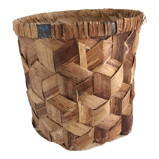 1980s Boho Chic Natural Woven Wastebasket Vessel