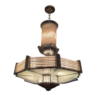 French Art Deco Nickeled Bronze and Glass Chandelier by Atelier Petitot For Sale