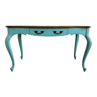 Shabby Chic Turquoise and Wood Distressed Accent Desk For Sale