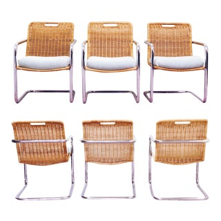 1970s Vintage Chromecraft Wicker & Chrome Dining Chairs - Set of 6 For Sale