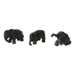 Porcelain Elephant Figurines - Set of 3 For Sale