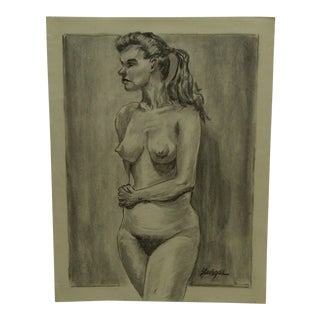 """1959 Mid-Century Modern Original Drawing on Paper, """"Nude With Ponytail"""" by Tom Sturges Jr. For Sale"""