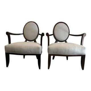 Barbara Barry for Baker Furniture Oval X-Back Chairs - a Pair