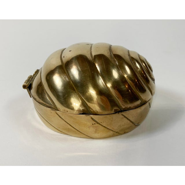 Hinged Brass Shell Trinket Box For Sale - Image 4 of 7