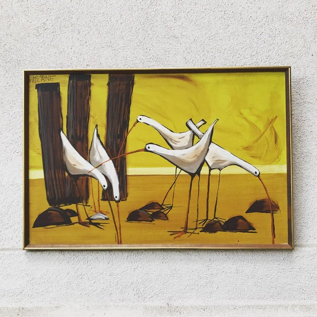 Paint Mid-Century Painting of Seagulls by McCaine For Sale - Image 7 of 7