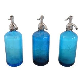Vintage 1950s Glass Seltzer Bottles - Set of 3 For Sale