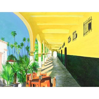 Sunlit Portico Painting For Sale
