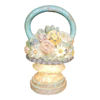 Antique Victorian Cast Iron Handled Basket ~ Urn Floral Doorstop For Sale