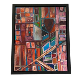 Acrylic on Canvas Framed Abstract By Framed Signed Yjr For Sale