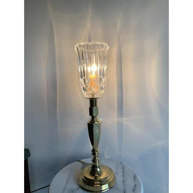 Mid 20th Century Vintage Mid 20th Century Brass Plated Metal Candlestick and Cut Crystal Glass Table Lamp For Sale - Image 5 of 8