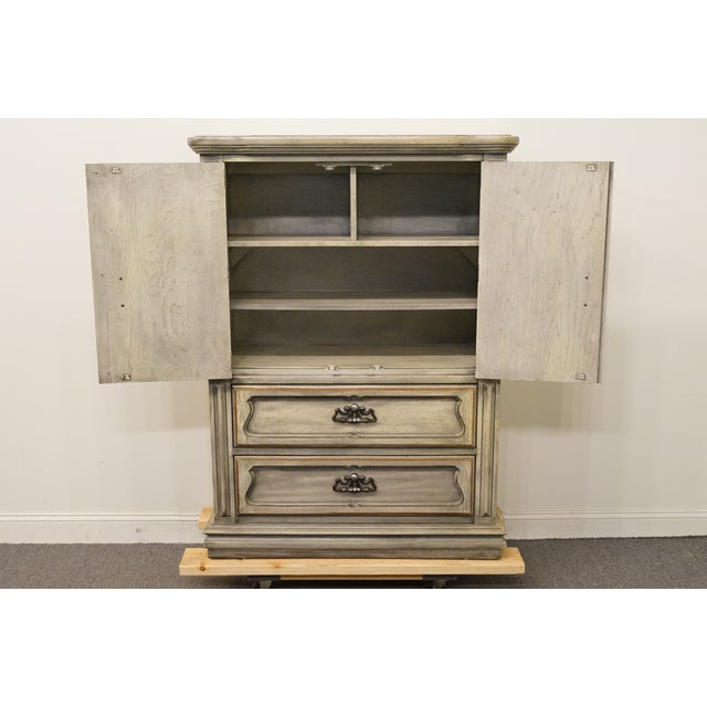 """Late 20th Century Stanley Furniture Italian Provincial Green Tint Finish 43"""" Door Chest / Armoire For Sale - Image 5 of 13"""