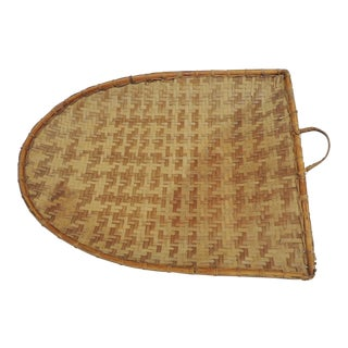 Vintage Asian Woven Flat Drying Basket with Handle