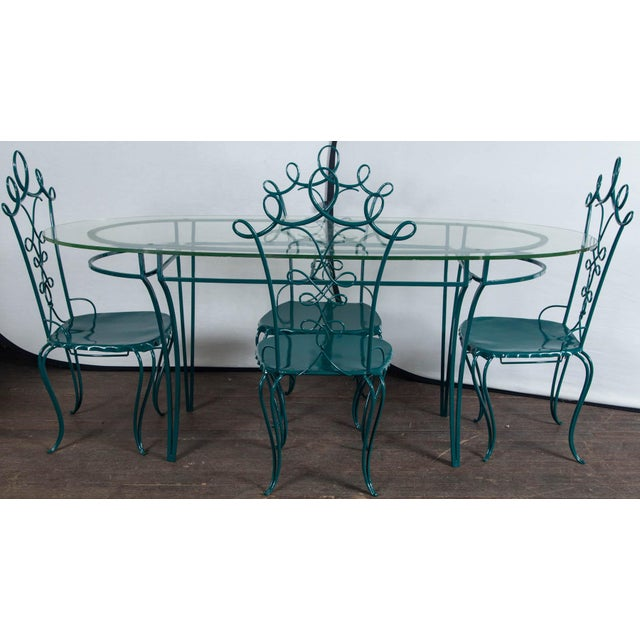 699692ffc530 1940s French wrought iron garden table with and oval half inch thick glass  top