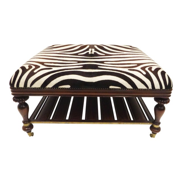 Vintage Zebra Hide Ottoman, Coffee or Cocktail Table For Sale