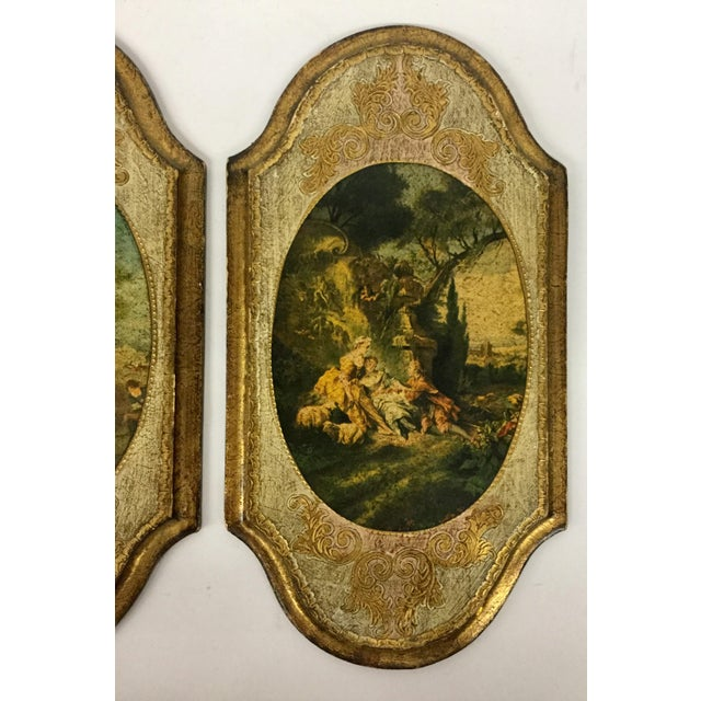 Italian Italian Hand Carved Wood Framed Prints - a Pair For Sale - Image 3 of 13