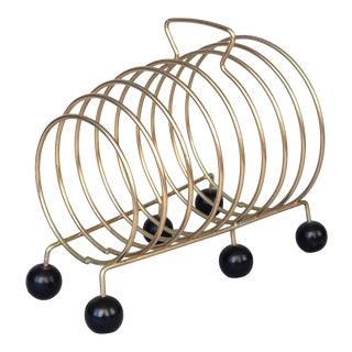 1950s Mid Century Modern Brass Rings Magazine Rack Record Holder For Sale
