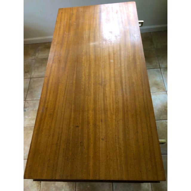 """Mid Century Blonde Wood Double Pedestal Desk 1.75"""" Square Brass Pulls For Sale - Image 9 of 11"""