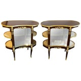 Image of Pair of Louis XV Style Crotch Mahogany Vitrine Form End Tables or Night Tables For Sale