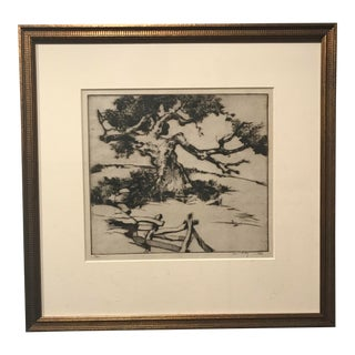 "1920s Drypoint on Paper Print ""In an Orchard"" by Alfred Hutty For Sale"