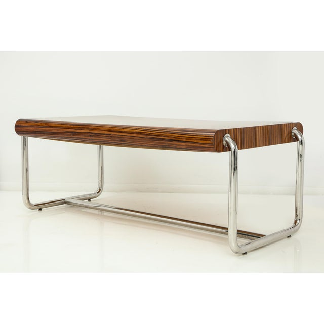 1980s Pace Collection Executive Desk in Macassar and Chrome For Sale - Image 5 of 13