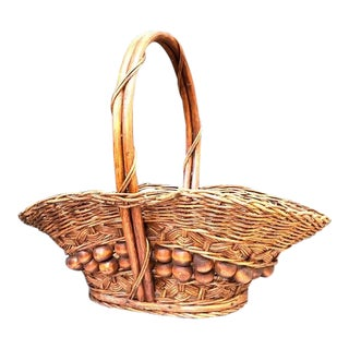 Boho Chic Brown Wood Bead Basket For Sale