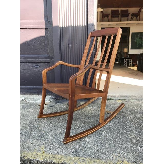 American Studio Walnut Rocking Chair Craft Movement For Sale - Image 13 of 13