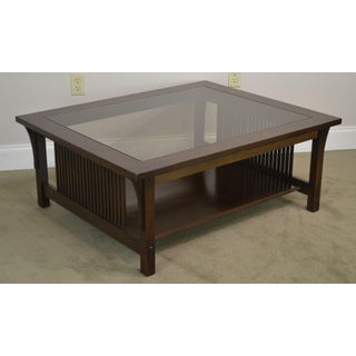 Stickley Mission Collection Oak Glass Top Cocktail Coffee Table Preview