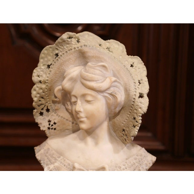 This tall, antique bust is the perfect addition to any elegant room. Sculpted in France, circa 1880, the marble piece sits...